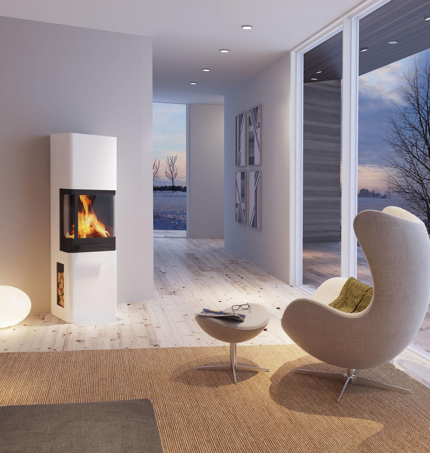 Cosy winter modern scene evening