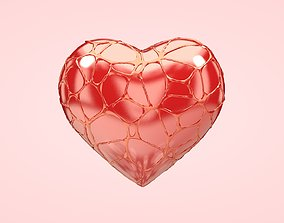 Heart covered in Web 3D asset love