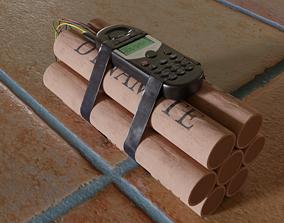 3D model dynamite bomb realistic PBR