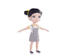 Girl brunette in dark blue sundress 3D asset low-poly