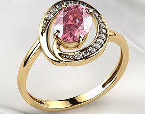 3D printable model Pink Sapphire Oval Gold Ring