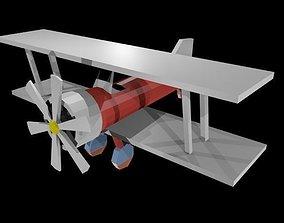 3D asset Low poly biplane
