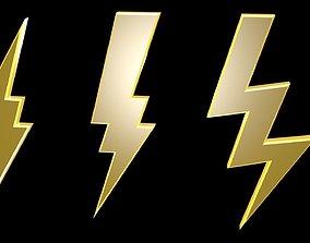 Low poly thunder symbols 2 3D model