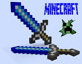 Minecraft sword cosplay 3d printed model for 3D printing