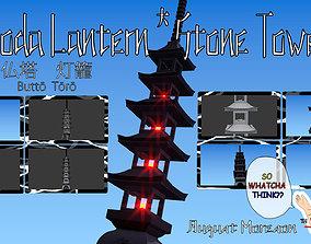 3D Pagoda Lantern Stone Tower shrine