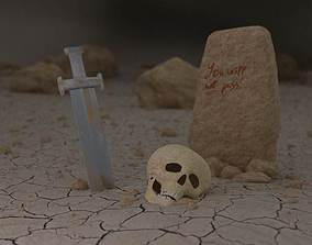 3D asset Scene of defeat with the skull