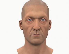 Male head bald 3D asset low-poly