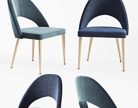 3D model Gloria Modern Blue Antique Brass Dining Chair