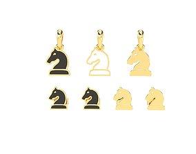Knight pendant and earrings chess set 3D print model