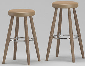 Wooden lounge stool 3D