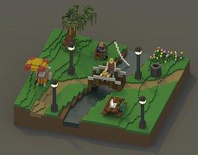 Public Park Voxel Scene 3D asset