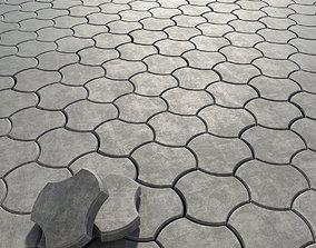 3D model Paving stone threetoed