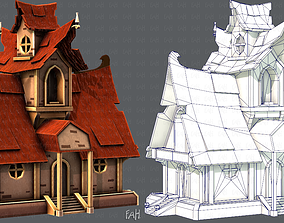 House Cartoon V02 3D asset game-ready