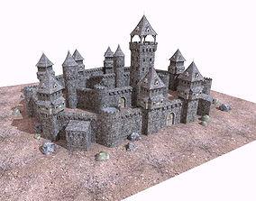 Medieval gothic castle 3D asset