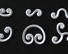 3D asset Decorative Swirls or Scrolls Collection R2TA