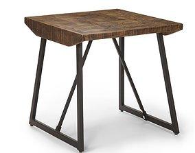 Evander Solid Wood Sled End Table 3D