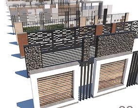 modern fence collection 3D asset