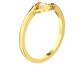3D printable model Solitaire diamond ring with accents 2