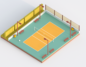 3D asset Low Poly Volleyball Court