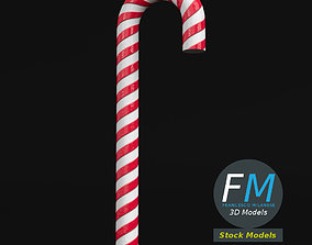 Striped candy cane 3D