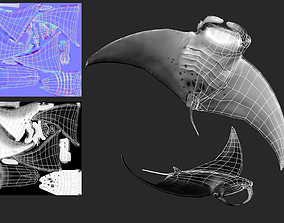 Manta Ray Low Poly Game Ready LOD 3D asset