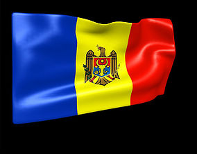 Moldova flag 3D animated
