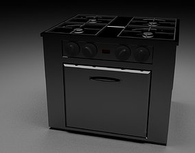 Low poly electric stove 3D model