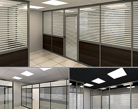 3D model Office glass partitions