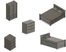 3D Model Railway Bedroom Items inc Beds Wardrobes and
