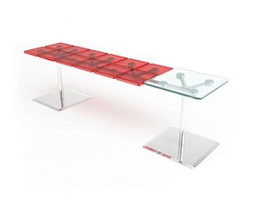 Modern Glass Desk Red And Clear 3D model