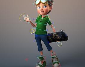 Cartoon Boy Rigged hair 3D