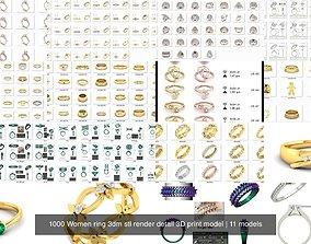 1000 Women ring 3dm stl render detail 3D print