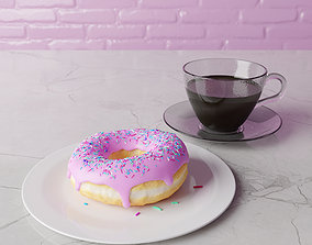 food 3D model animated Donut and coffee