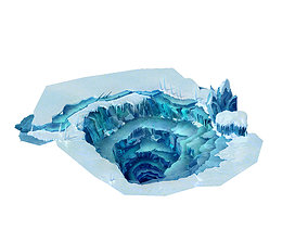 long Cold wind highland - ice hole 01 3D model