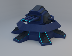 Sci-Fi Laser Turret 3D asset