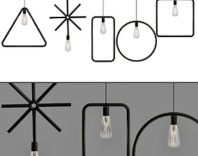 Vintage Pendant Lights Iron Black Pendant Lamp E27 3D