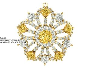 663 Flower Diamond Pendant 3D print model