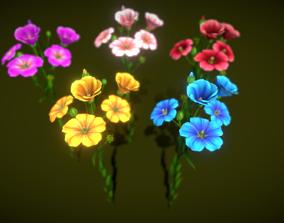 Flower Flax 3D asset