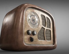 3D model PBR speaker Old radio
