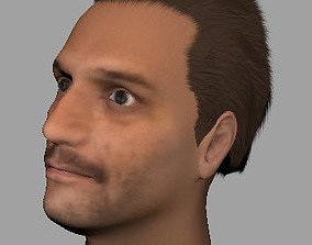 low-poly man hair 3D asset VR / AR ready