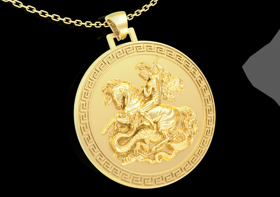 Saint George and the Dragon Pendant jewelry Gold 3D print model