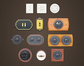 Vintage light switches Model set 3D asset