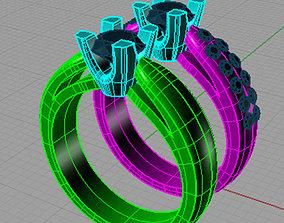 3D printable model Set Solitaire Round diamond Anello 2
