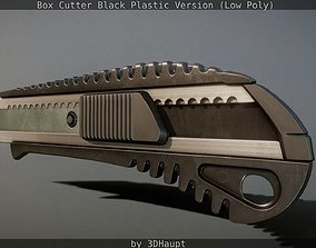3D asset Box Cutter Lowpoly Black Plastic - Gameready - 2
