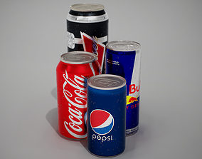 3D model low-poly Beverage Cans