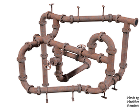 Old Rusty Pipes for Games 3D model