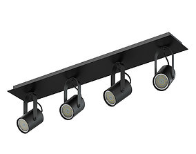 Black Quadruple Lights 3D Model halogen