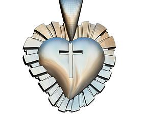 3D print model Love Cross Heart Pendant SHINE