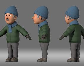 cartoon man grandfather old man people 3D model