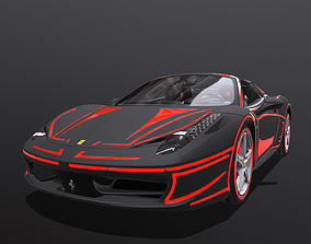 Super car Ferrari spider 3D asset